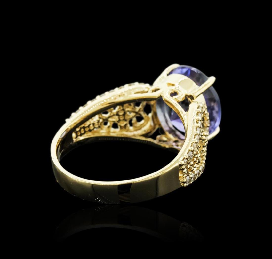 14KT Yellow Gold 4.98 ctw Tanzanite and Diamond Ring - 3