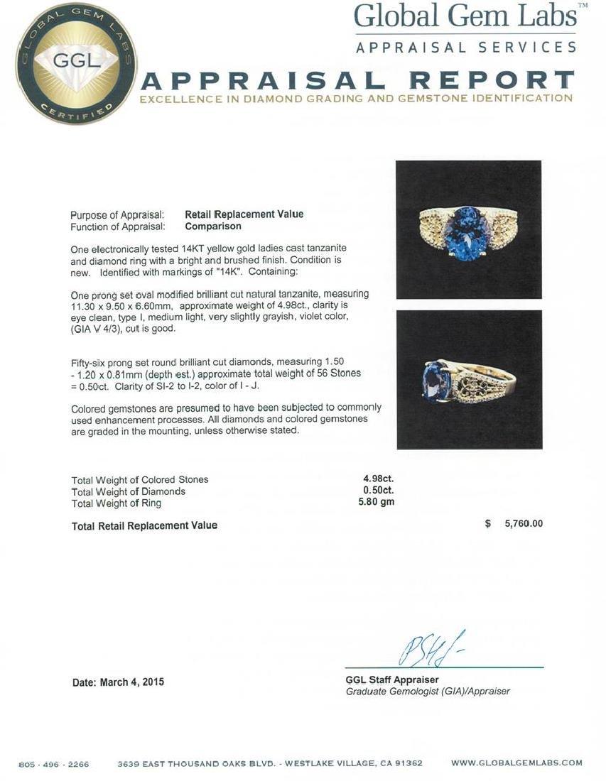 14KT Yellow Gold 4.98 ctw Tanzanite and Diamond Ring - 4