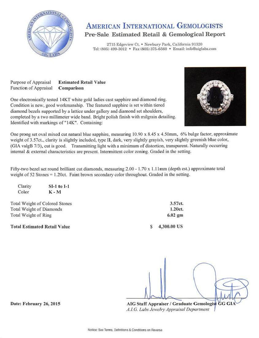 14KT White Gold 3.57 ctw Sapphire and Diamond Ring - 5
