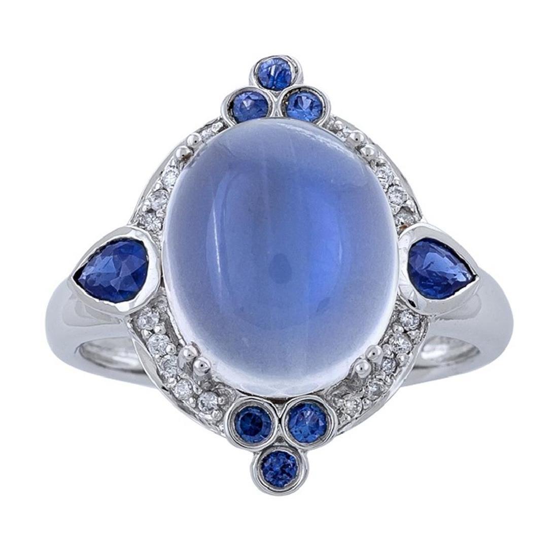 7.08 ctw Moon Stone, Blue Sapphire, and Diamond Ring -