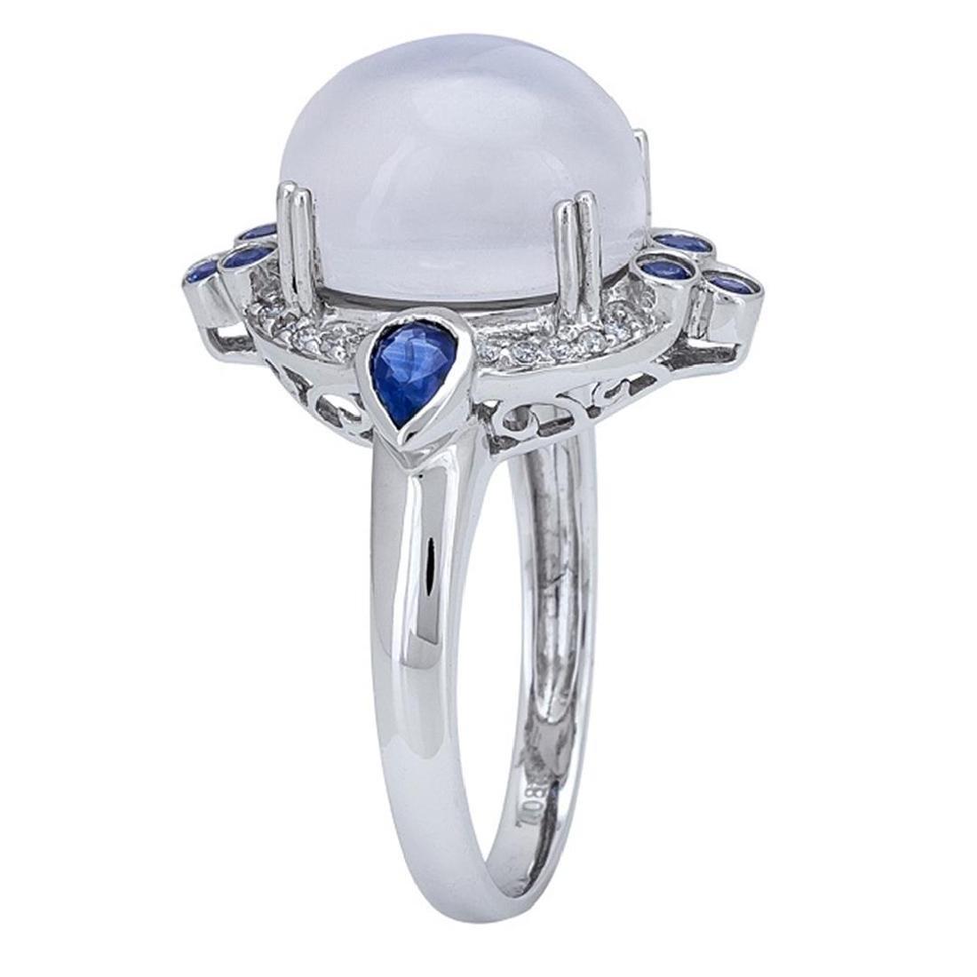 7.08 ctw Moon Stone, Blue Sapphire, and Diamond Ring - - 2