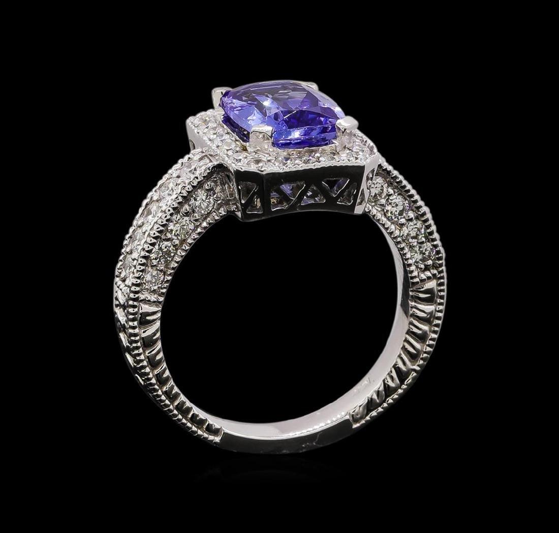 14KT White Gold 1.54 ctw Tanzanite and Diamond Ring - 4
