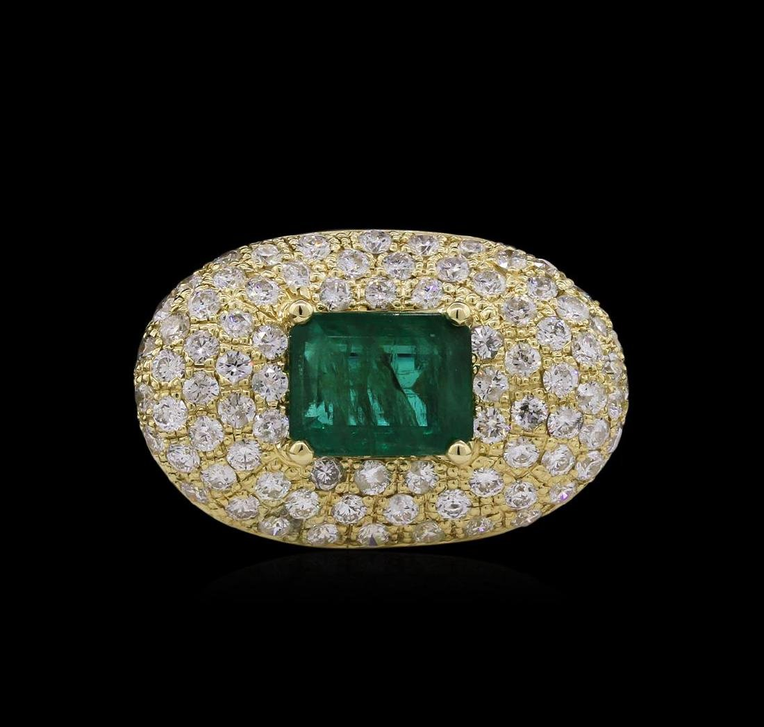 14KT Yellow Gold 3.08 ctw Emerald and Diamond Ring - 2