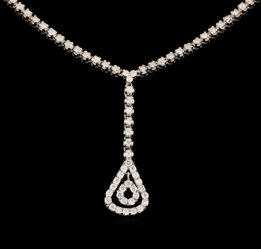 14KT White Gold 1.03 ctw Diamond Necklace - 2