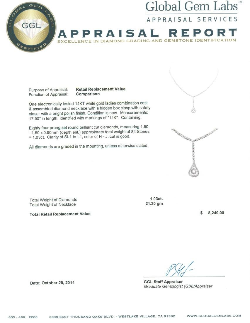 14KT White Gold 1.03 ctw Diamond Necklace - 3