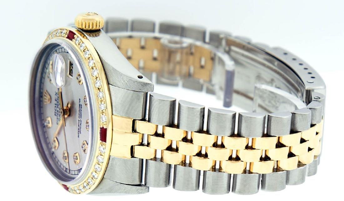 Rolex Mens 2 Tone 14K Silver Diamond & Ruby Datejust - 3