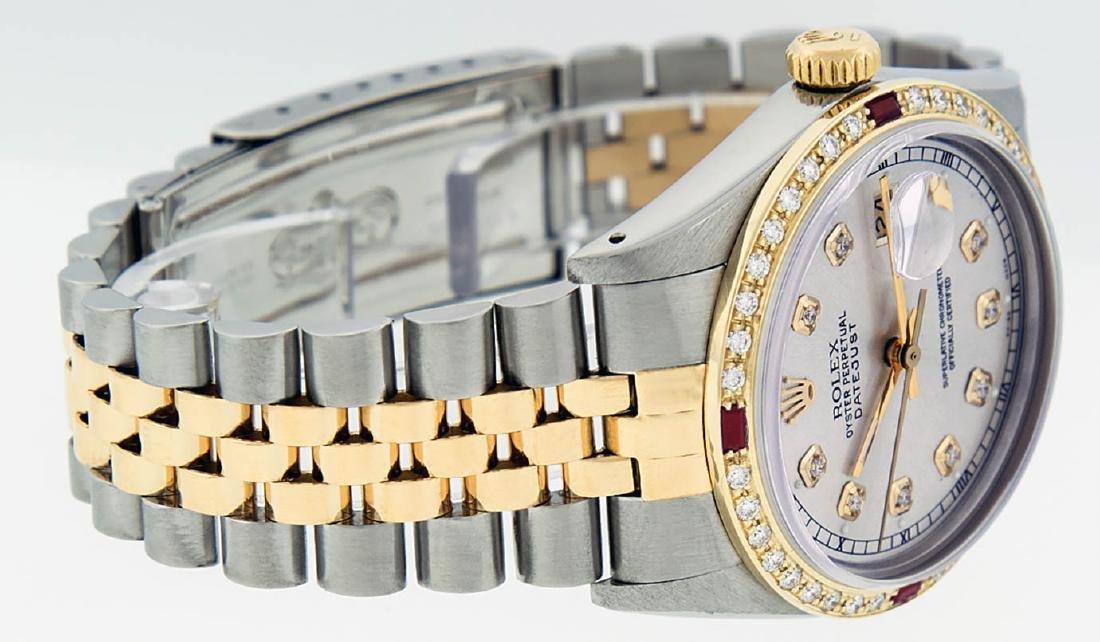 Rolex Mens 2 Tone 14K Silver Diamond & Ruby Datejust - 8