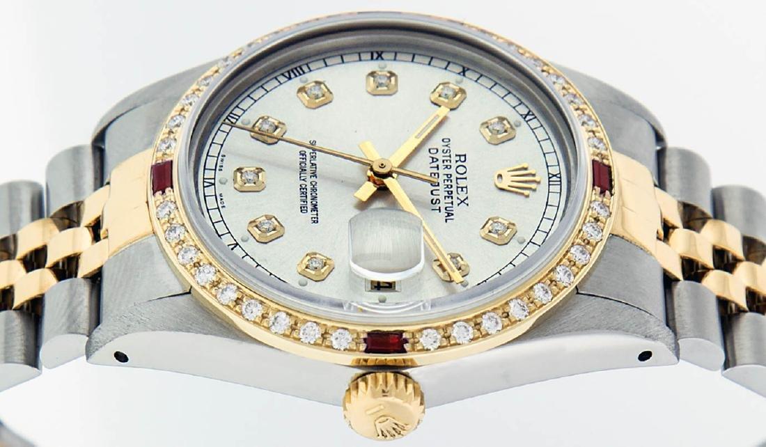 Rolex Mens 2 Tone 14K Silver Diamond & Ruby Datejust - 9