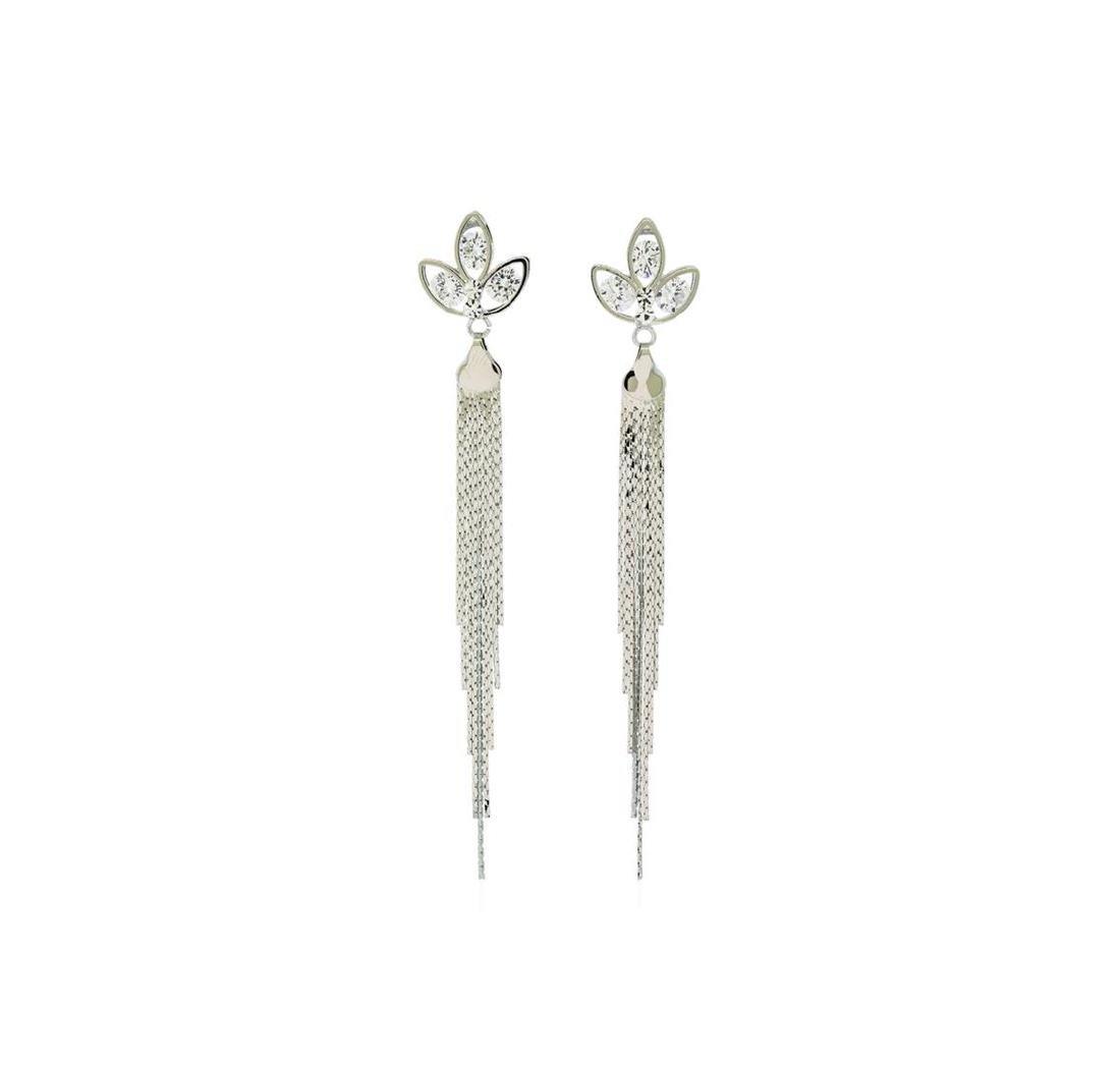 Crystal Petal Post Tassel Earrings - Silver Plated