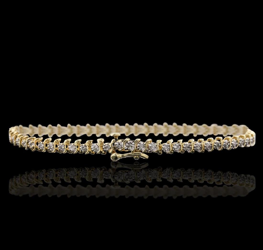 14KT Yellow Gold 1.10 ctw Diamond Bracelet - 2