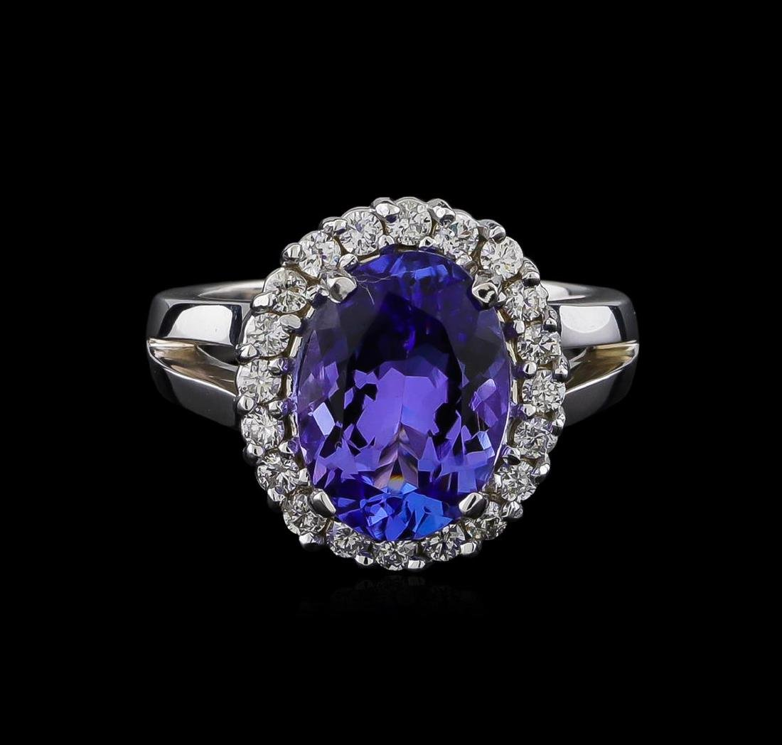 4.25 ctw Tanzanite and Diamond Ring - 14KT White Gold - 2