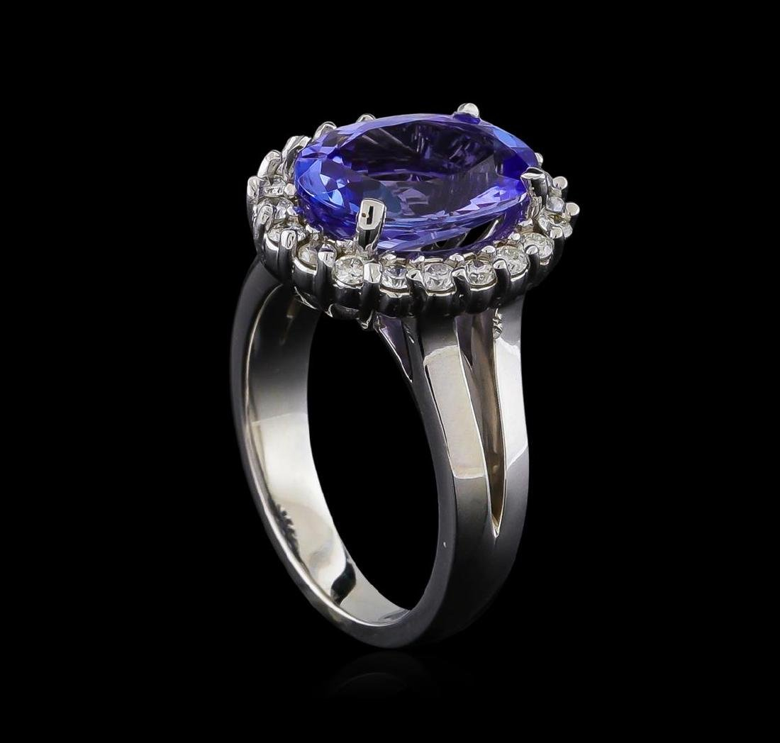 4.25 ctw Tanzanite and Diamond Ring - 14KT White Gold - 4