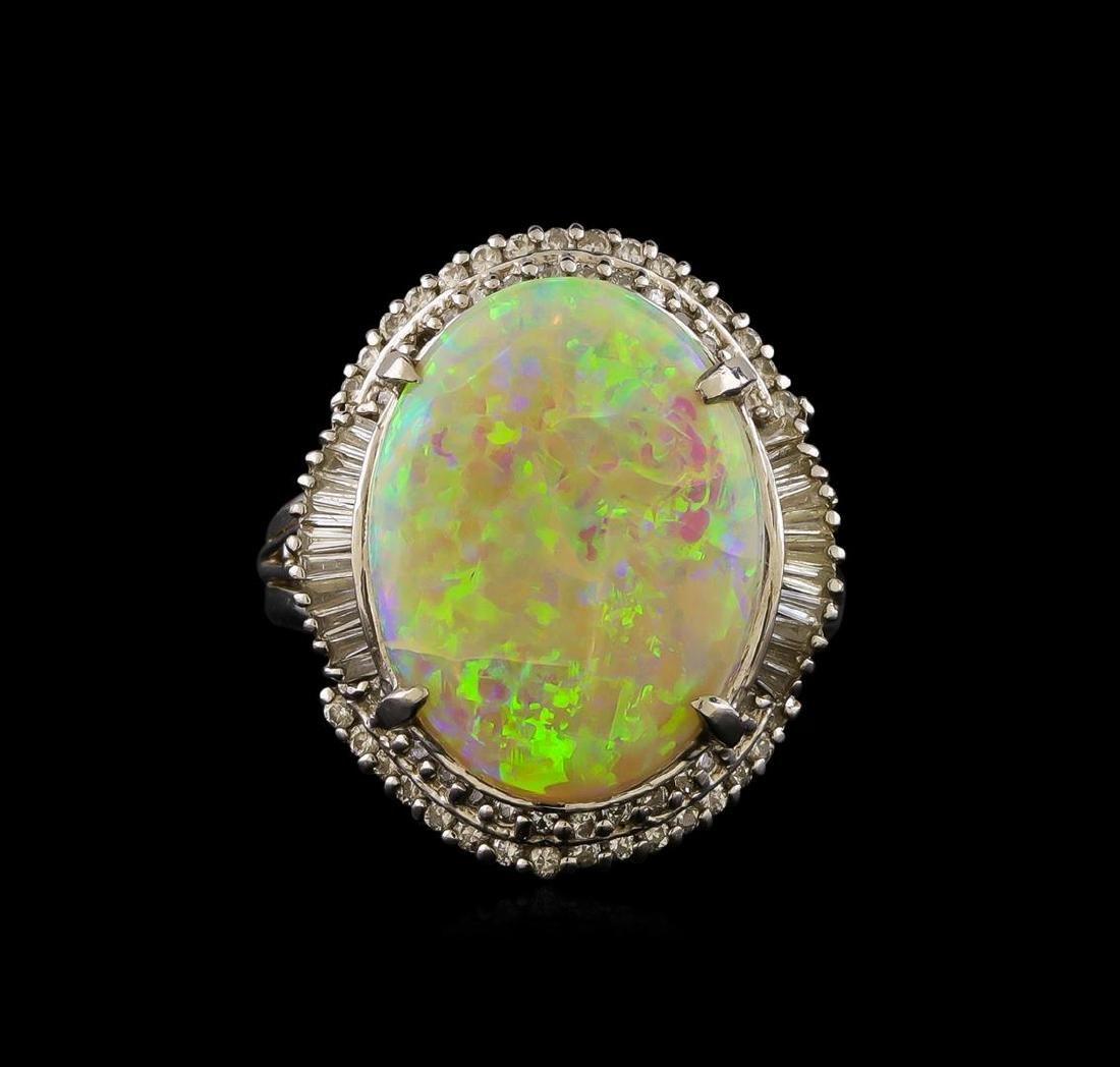 6.02 ctw Opal and Diamond Ring - Platinum - 2