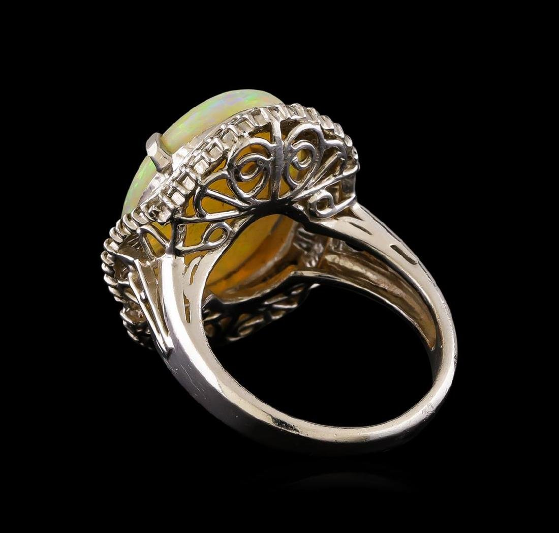 6.02 ctw Opal and Diamond Ring - Platinum - 3