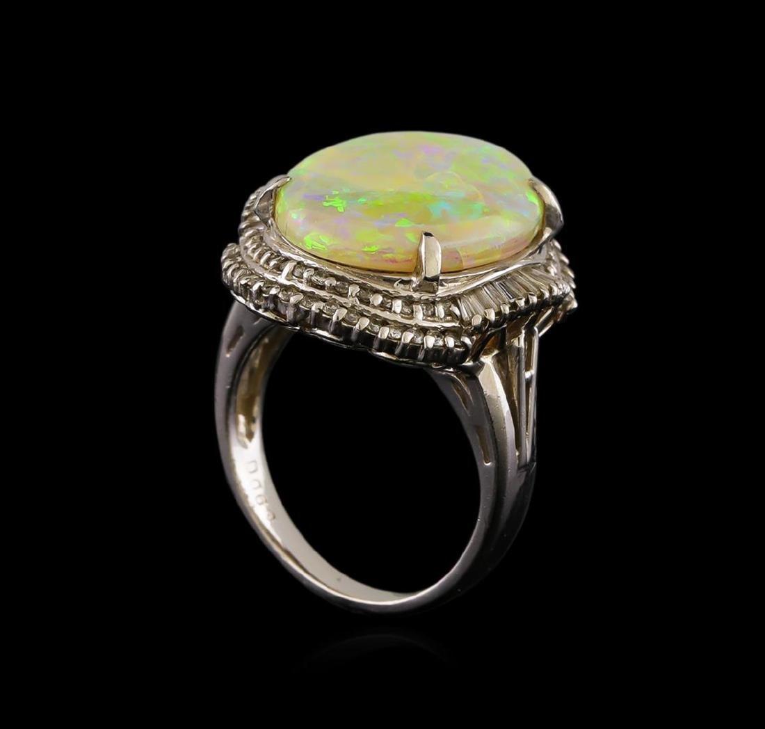 6.02 ctw Opal and Diamond Ring - Platinum - 4