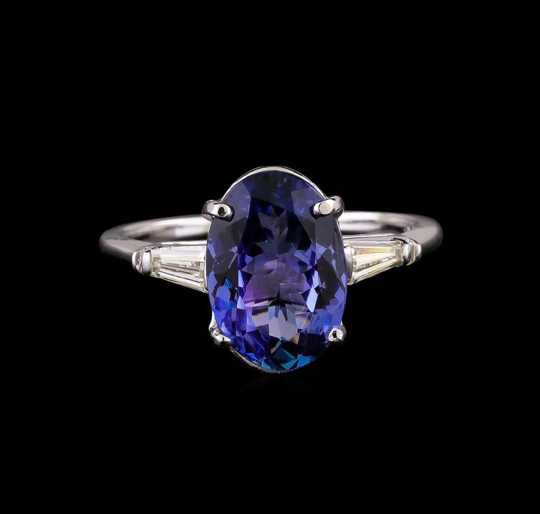 14KT White Gold 3.35 ctw Tanzanite and Diamond Ring - 2