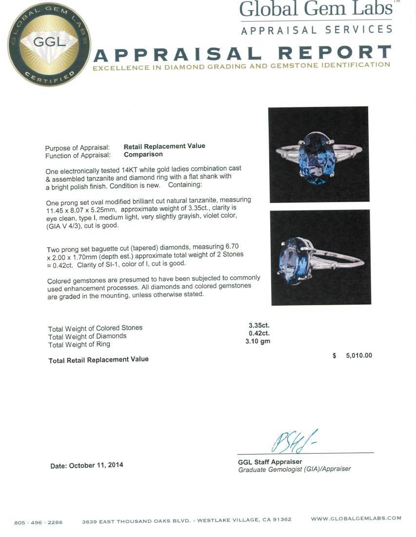 14KT White Gold 3.35 ctw Tanzanite and Diamond Ring - 5