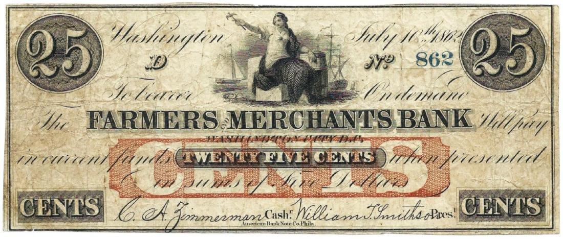 1862 25 cents Farmers Merchant Bank, Washington DC