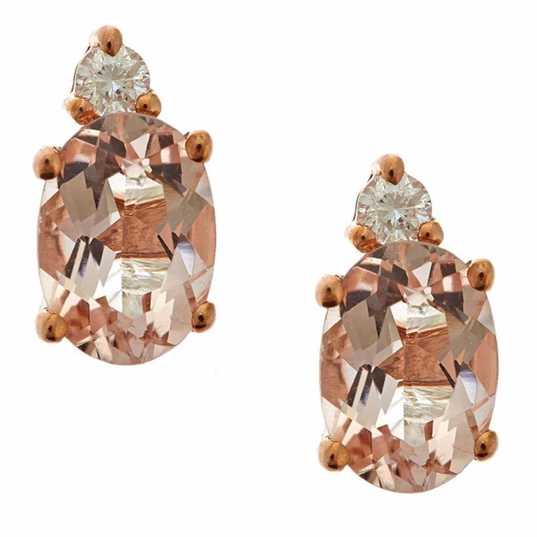 1.39 ctw Morganite and Diamond Earrings - 10KT Rose