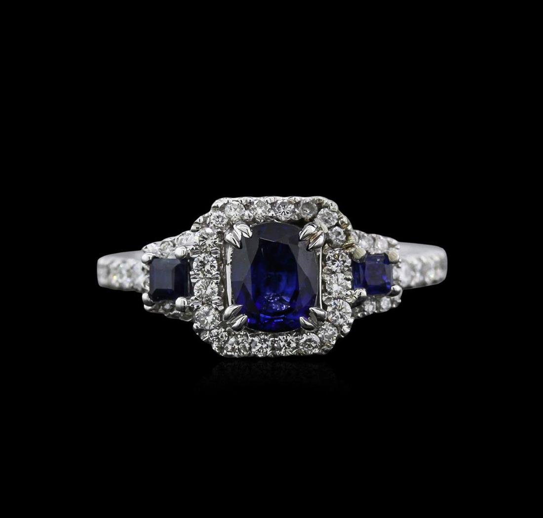 0.83 ctw Sapphire and Diamond Ring - 14KT White Gold - 2