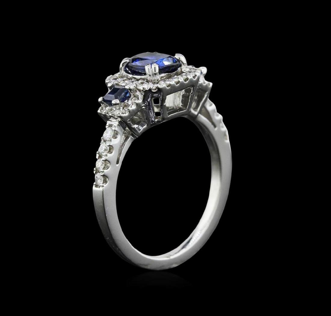 0.83 ctw Sapphire and Diamond Ring - 14KT White Gold - 3