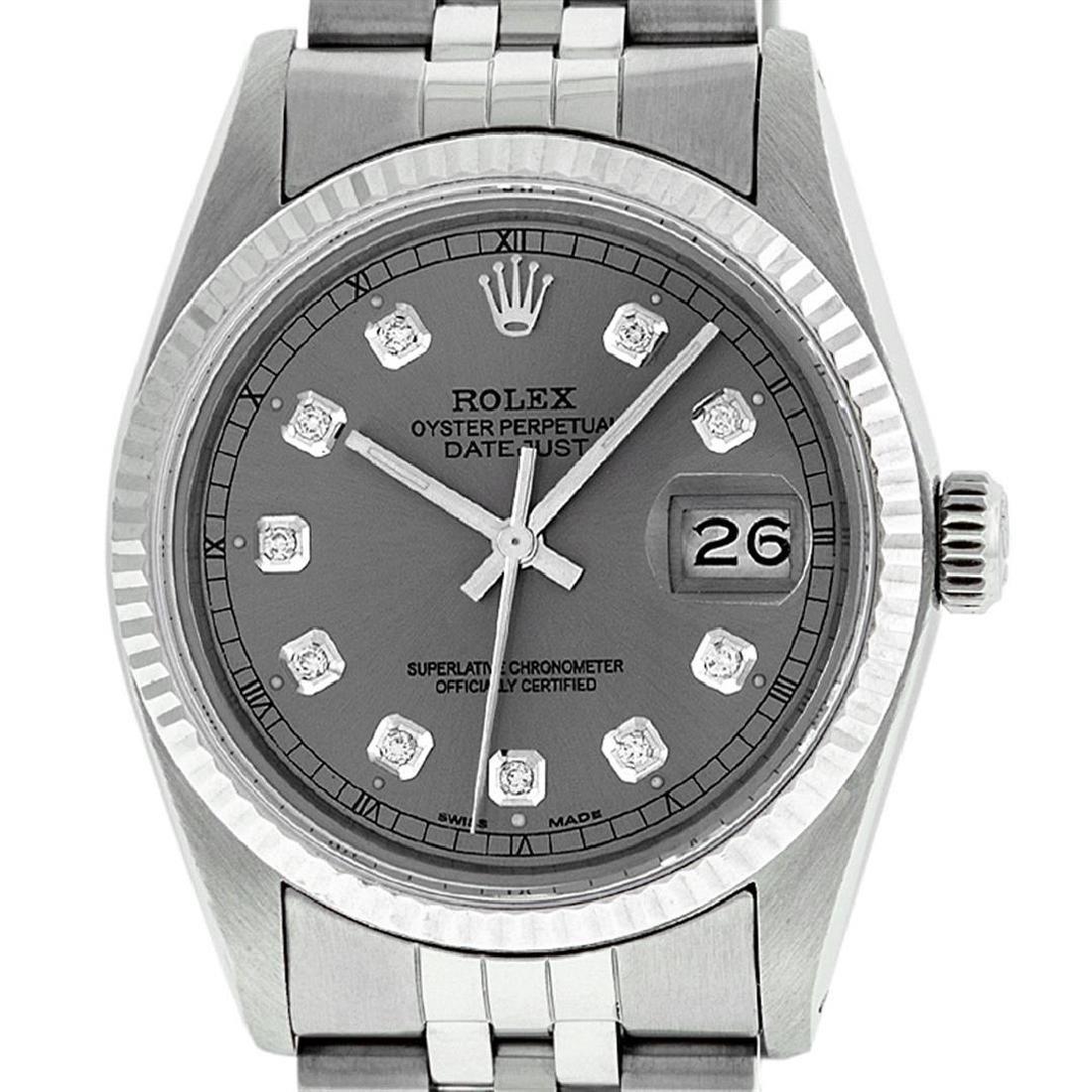 Rolex Mens Stainless Slate Grey Diamond 36MM Datejust