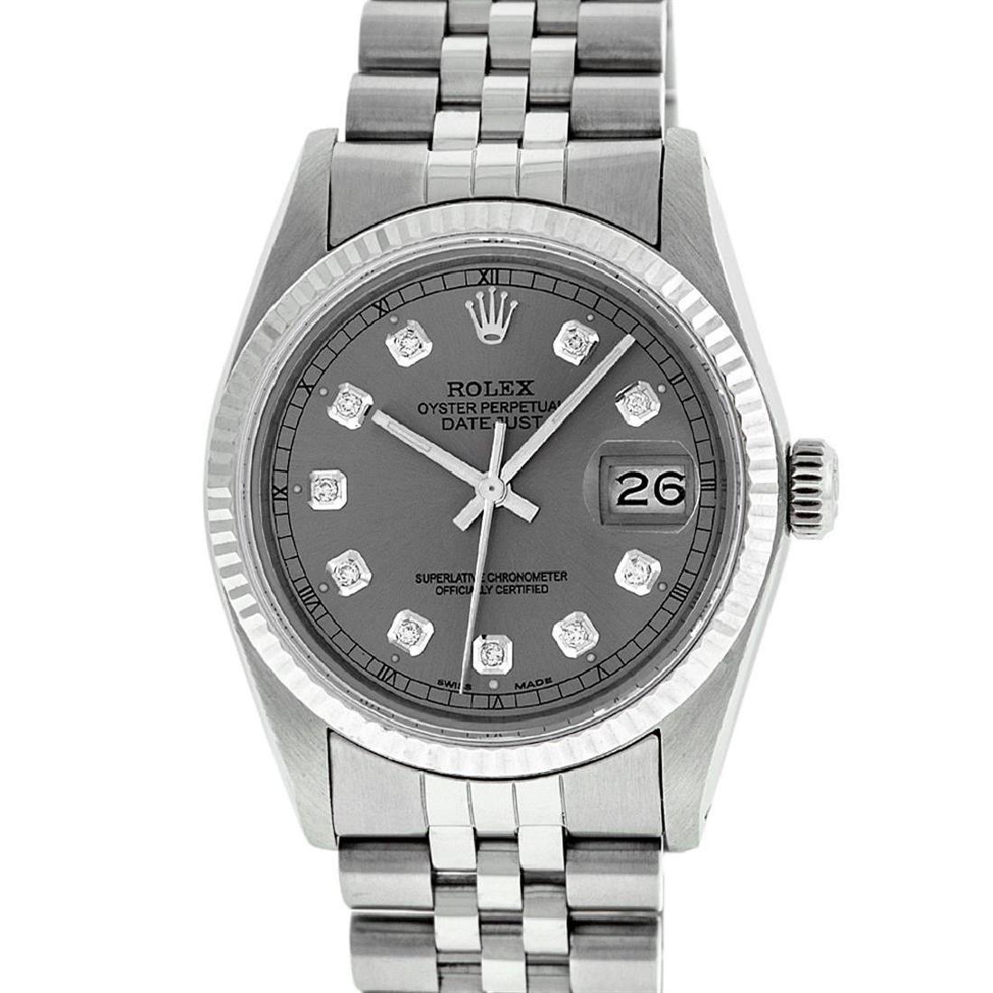 Rolex Mens Stainless Slate Grey Diamond 36MM Datejust - 2