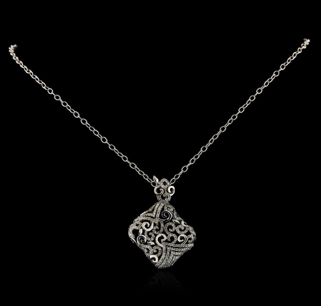 14KT White Gold 1.20 ctw Diamond Pendant With Chain - 2
