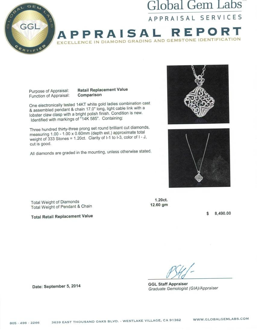 14KT White Gold 1.20 ctw Diamond Pendant With Chain - 3