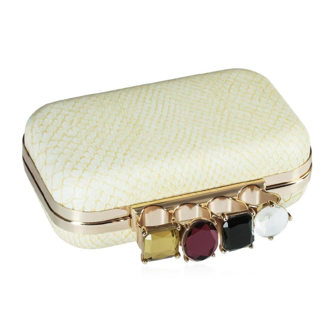 Ivory Textured Evening Clutch - 2
