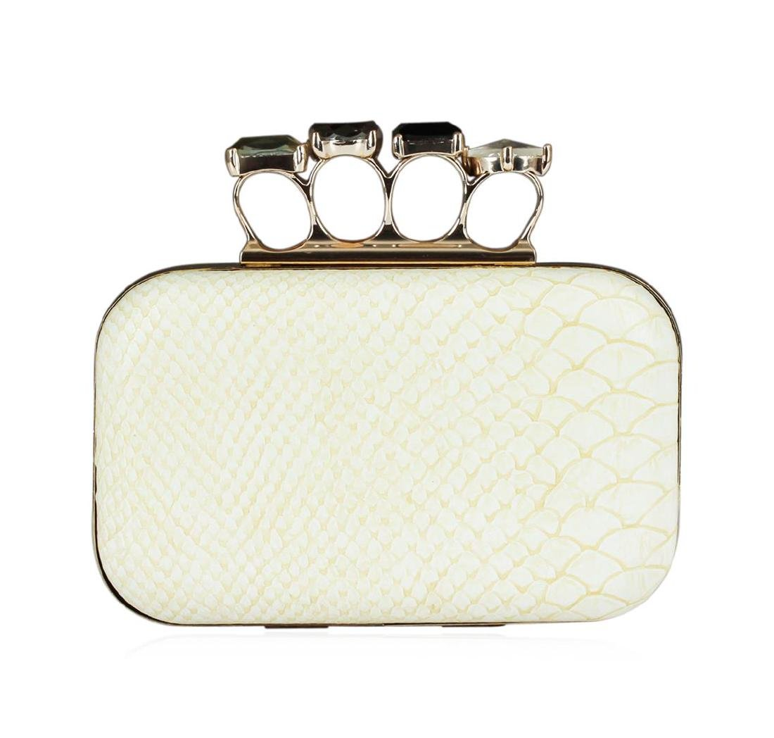 Ivory Textured Evening Clutch - 3