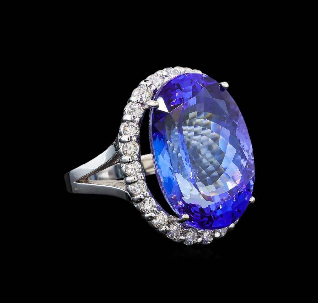 GIA Cert 26.53 ctw Tanzanite and Diamond Ring - 14KT