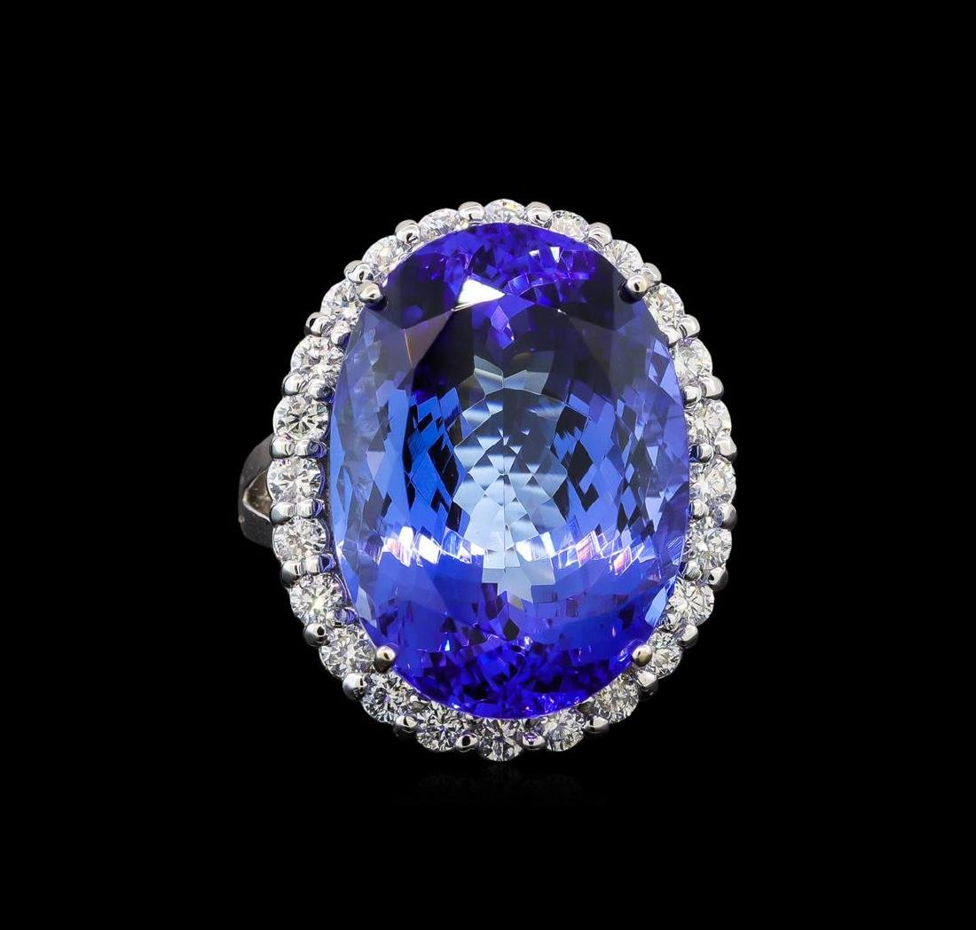 GIA Cert 26.53 ctw Tanzanite and Diamond Ring - 14KT - 2