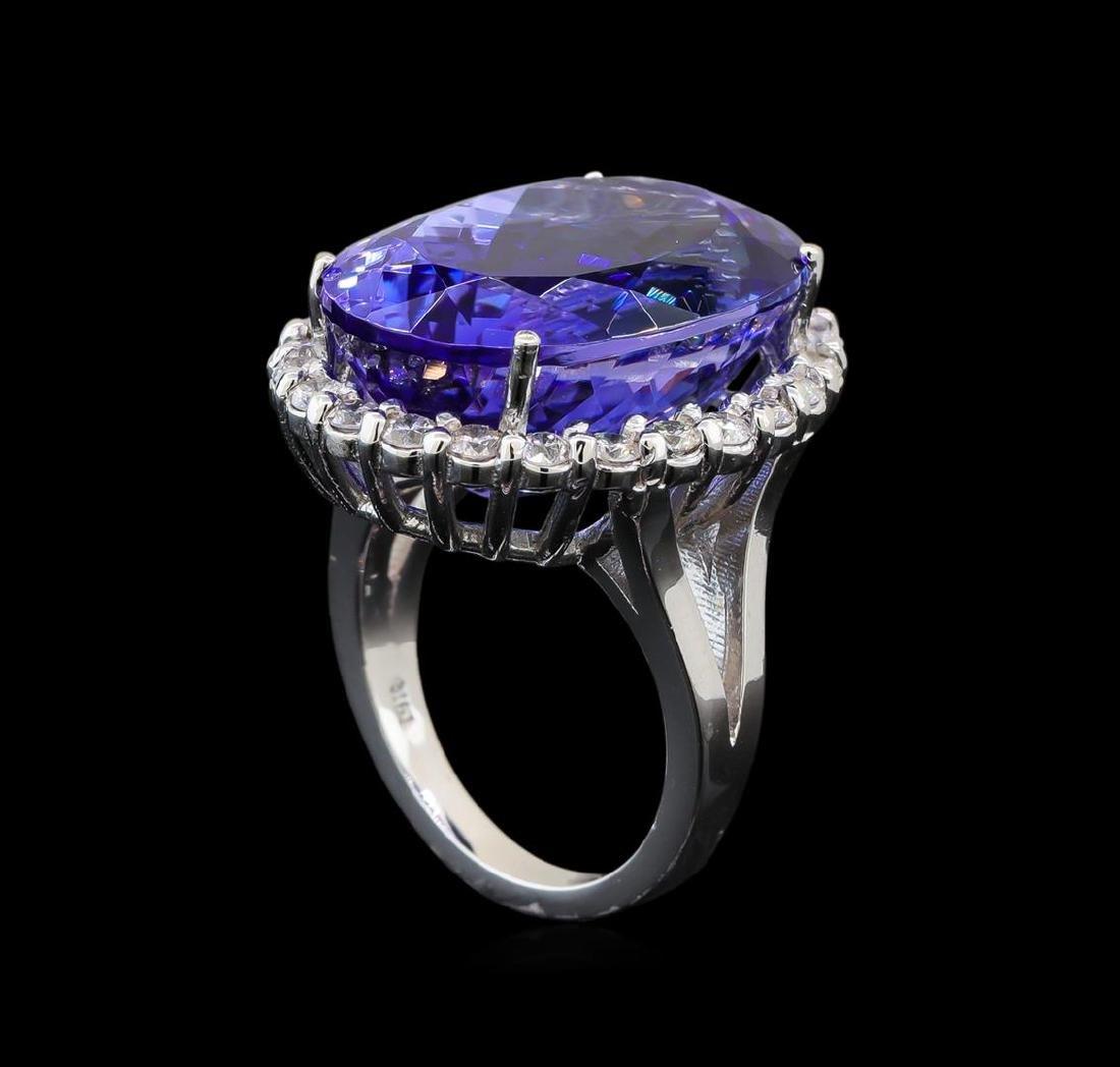GIA Cert 26.53 ctw Tanzanite and Diamond Ring - 14KT - 4