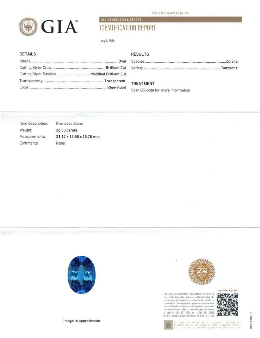 GIA Cert 26.53 ctw Tanzanite and Diamond Ring - 14KT - 6