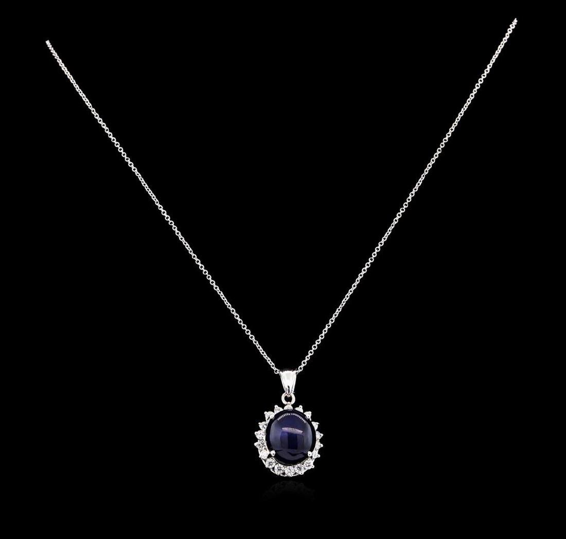 13.12 ctw Sapphire and Diamond Pendant - 14KT White - 2