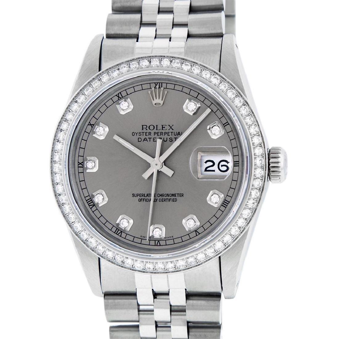 Rolex Mens Stainless Steel Slate Grey Diamond 36MM