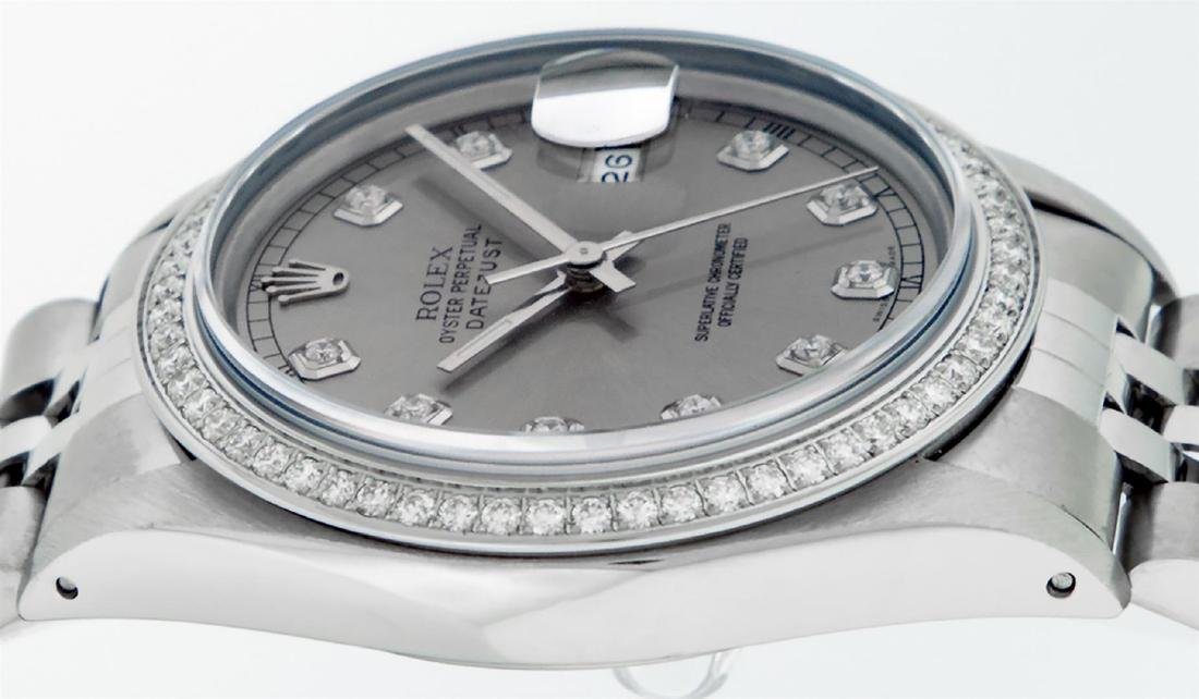 Rolex Mens Stainless Steel Slate Grey Diamond 36MM - 5