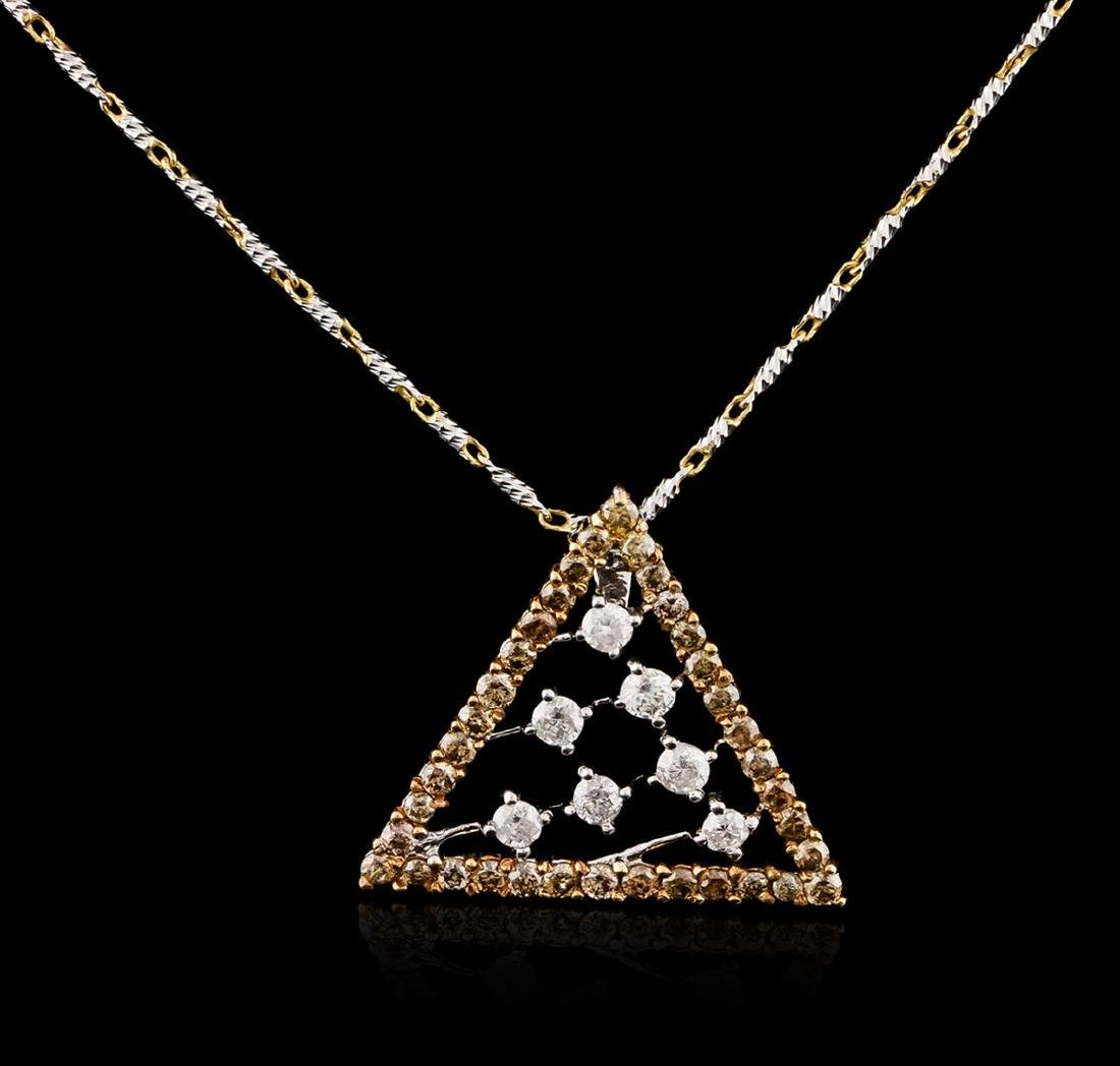 14KT Two-Tone Gold 0.67 ctw Diamond Pendant With Chain