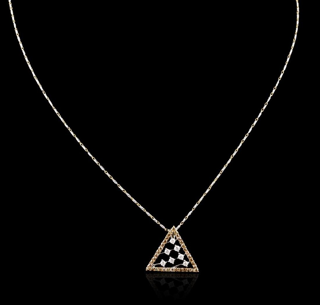 14KT Two-Tone Gold 0.67 ctw Diamond Pendant With Chain - 2