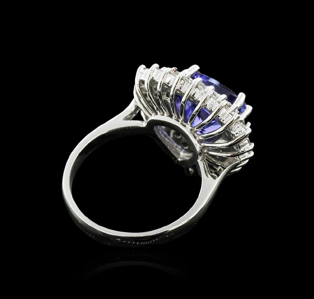 14KT White Gold 4.94 ctw Tanzanite and Diamond Ring - 3