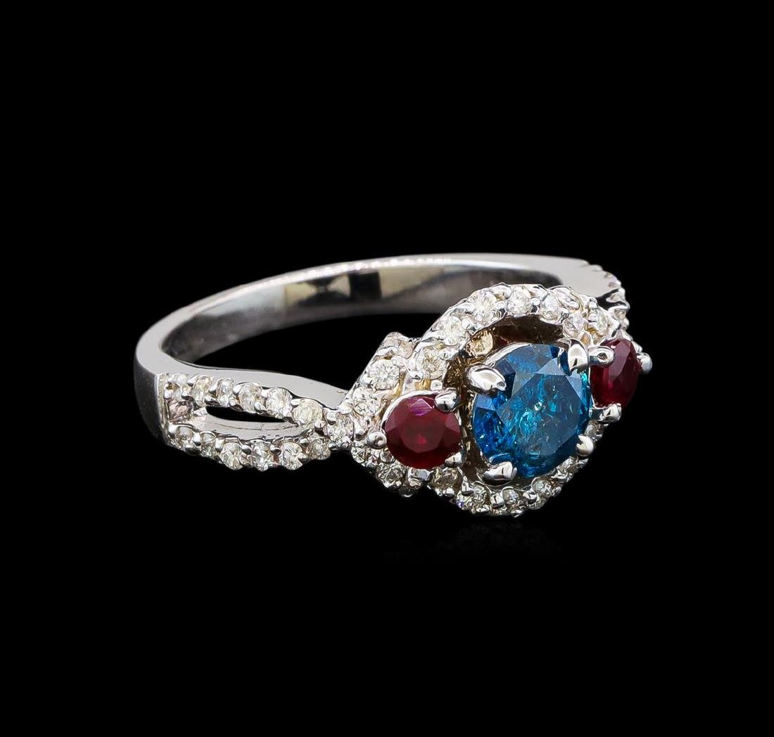 14KT White Gold 1.03 ctw Fancy Blue Diamond and Ruby