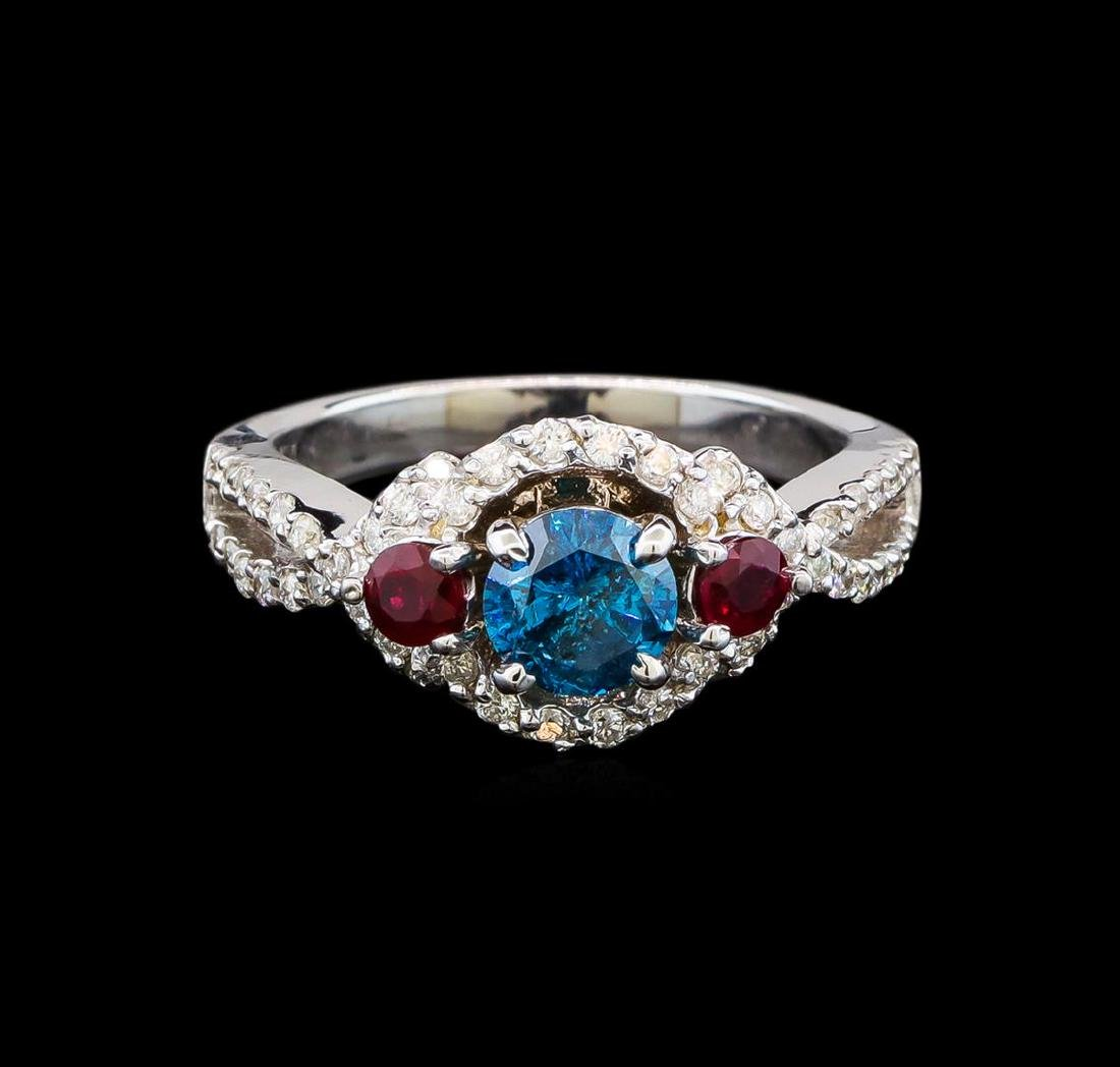 14KT White Gold 1.03 ctw Fancy Blue Diamond and Ruby - 2