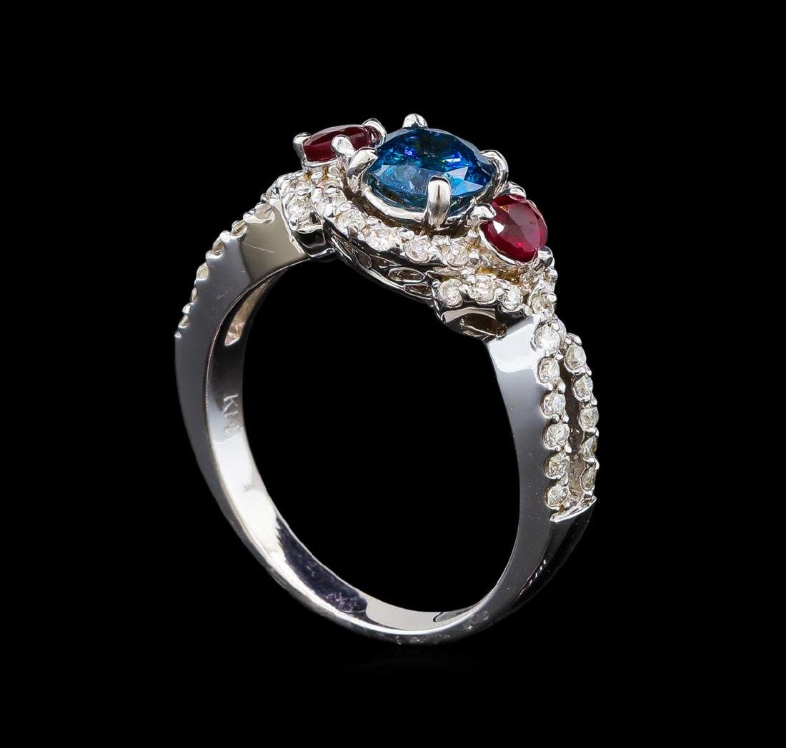 14KT White Gold 1.03 ctw Fancy Blue Diamond and Ruby - 4