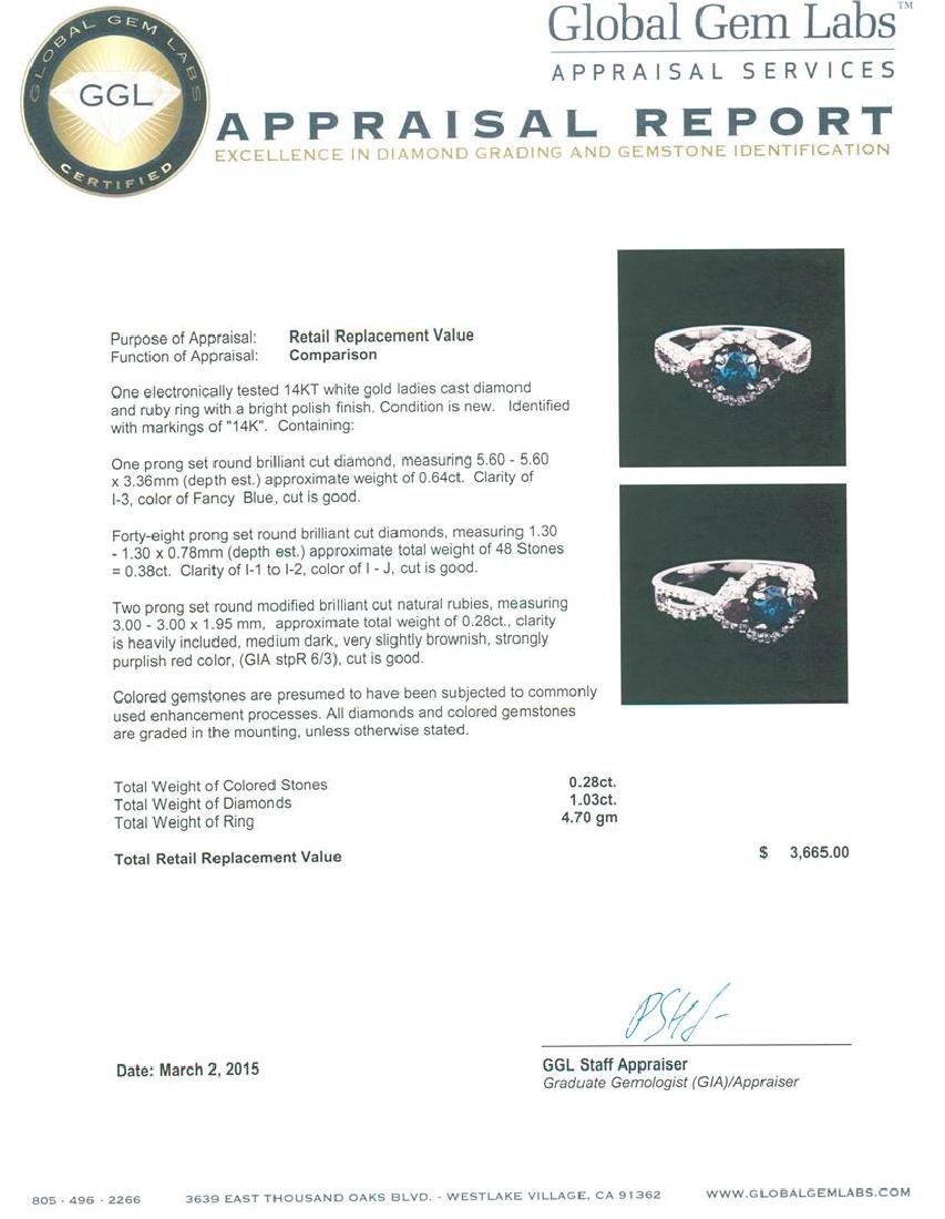 14KT White Gold 1.03 ctw Fancy Blue Diamond and Ruby - 5