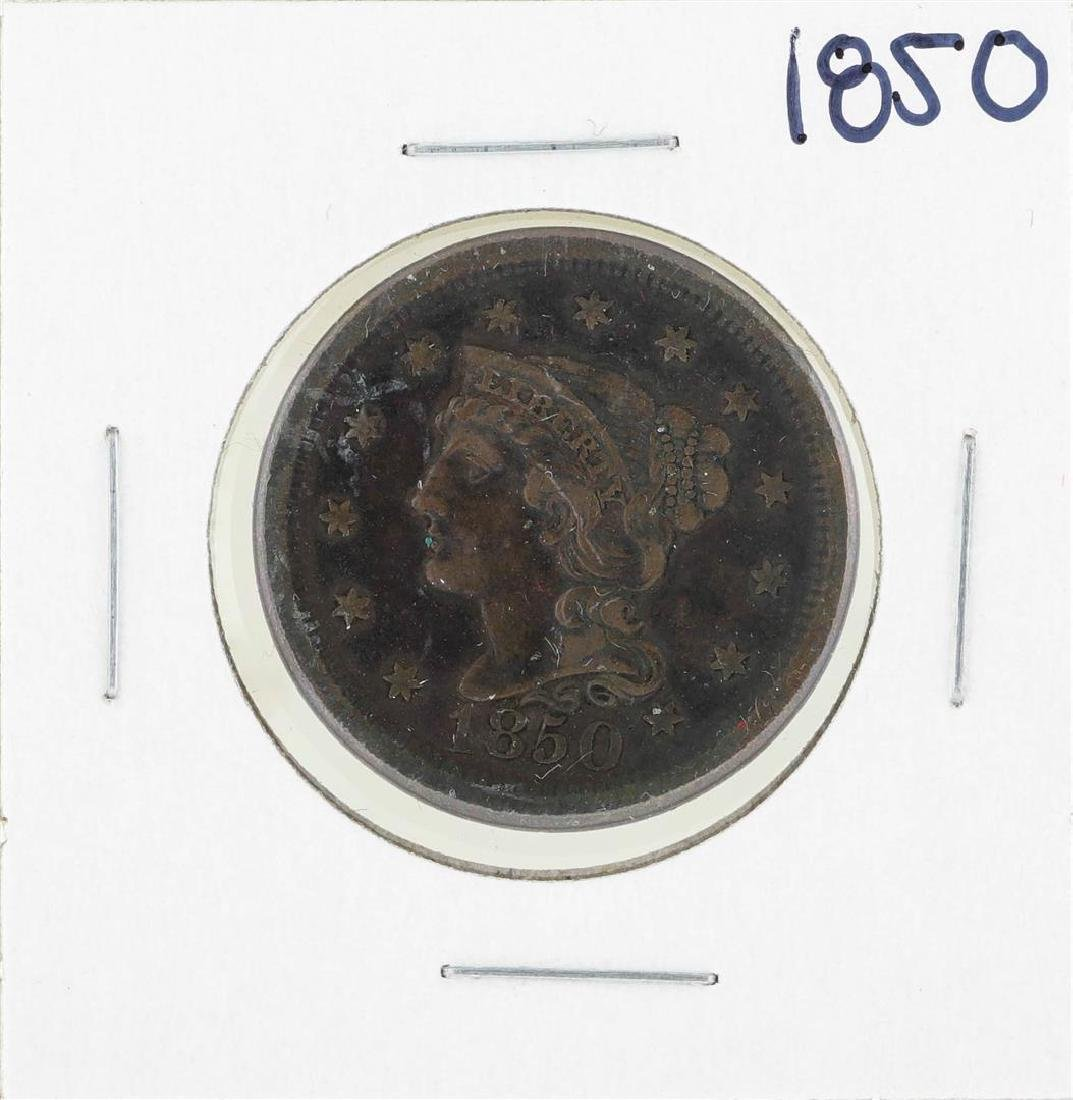1850 Braided Hair Large Cent Coin