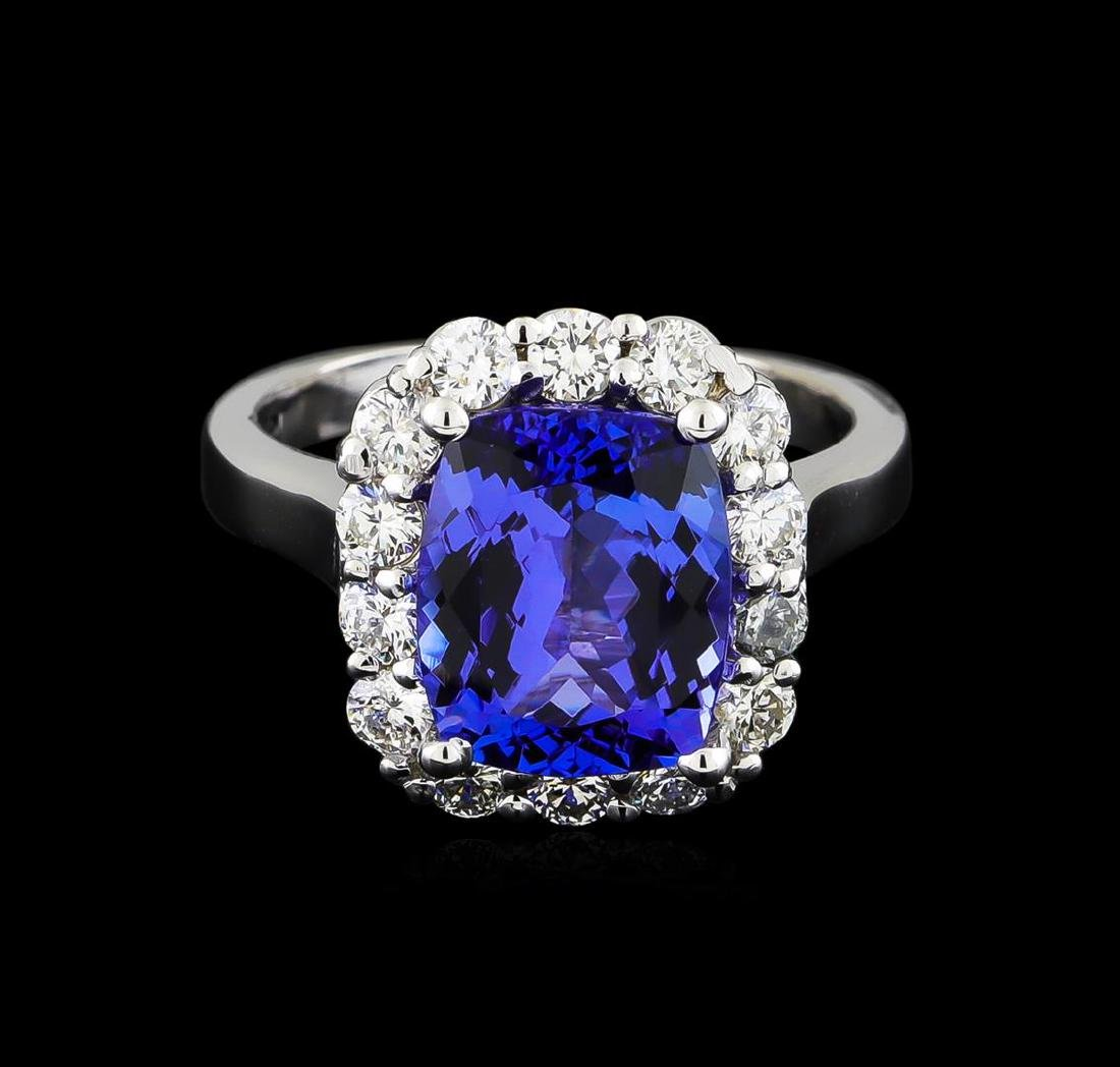 3.78 ctw Tanzanite and Diamond Ring - 14KT White Gold - 2