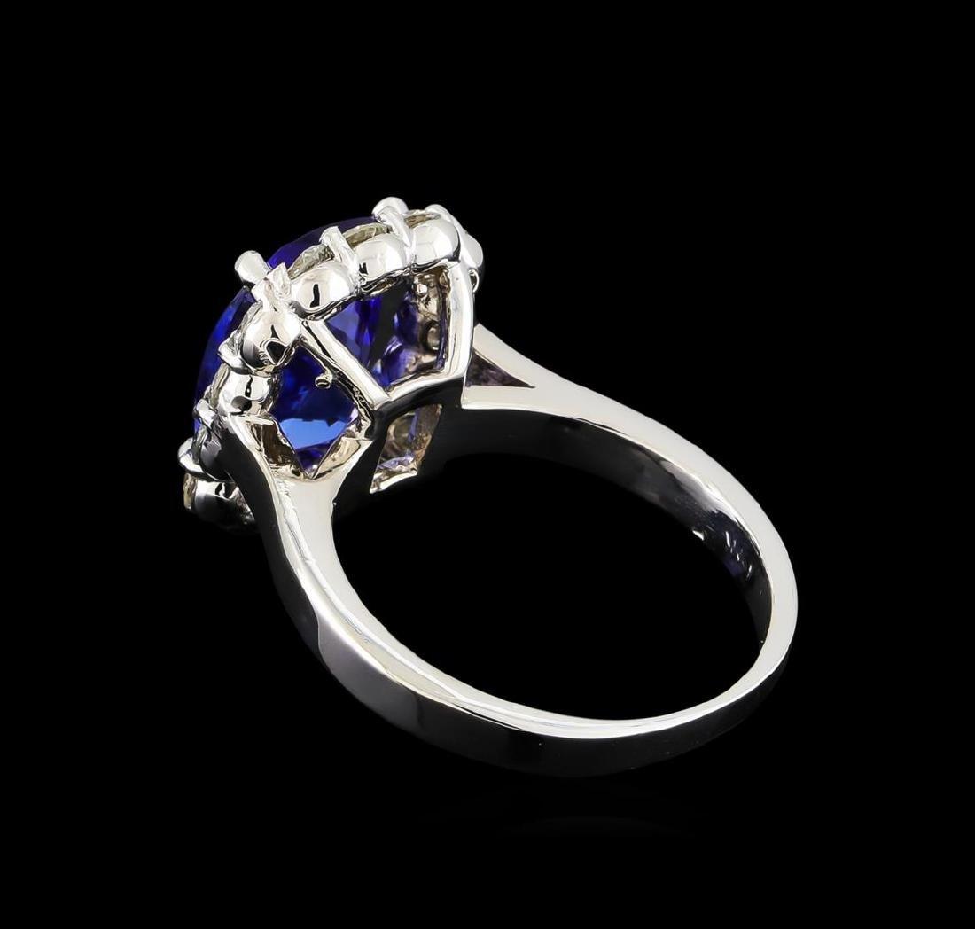 3.78 ctw Tanzanite and Diamond Ring - 14KT White Gold - 3