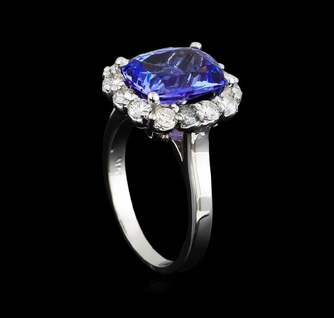 3.78 ctw Tanzanite and Diamond Ring - 14KT White Gold - 4