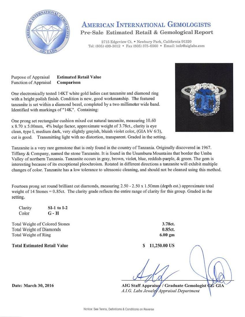3.78 ctw Tanzanite and Diamond Ring - 14KT White Gold - 5